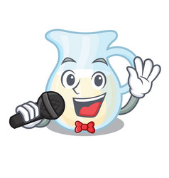 Singing milk jug completely filled with character vector