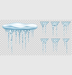 Snowdrift and translucent icicles vector