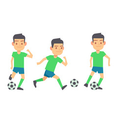 Soccer players with balls set isolated vector