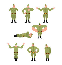 Soviet soldier set poses retro russian warrior vector