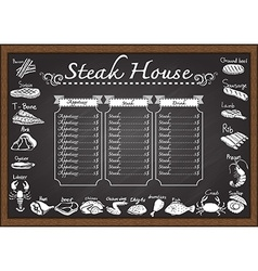 Steak menu on chalkboard vector image