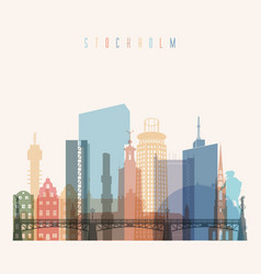 Stockholm skyline detailed silhouette vector