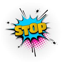 Stop no comic book text pop art vector