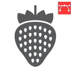 strawberry glyph icon food and keto diet berry vector image