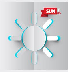 sun icon paper cut summer sunlight symbol vector image