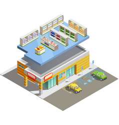 Supermarket store building isometric exterior view vector