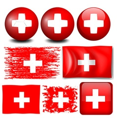 Switzerland flag on different items vector image