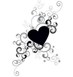 vector black heart vector image