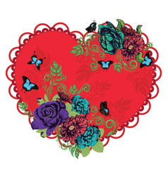 vintage roses ornament and heart vector image