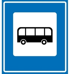 Bus stop sign traffic road sign vector image vector image