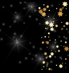 gold confetti on a black background vector image
