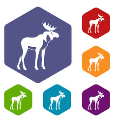 moose icons set vector image vector image