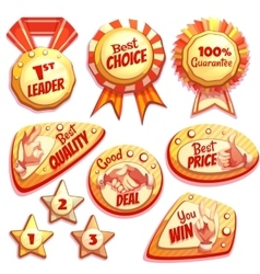 set of colored brightly badges with hand vector image vector image