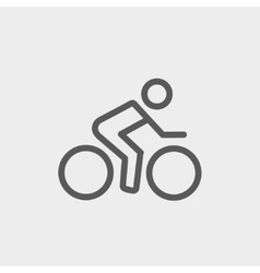 Sport bike and rider thin line icon vector image vector image
