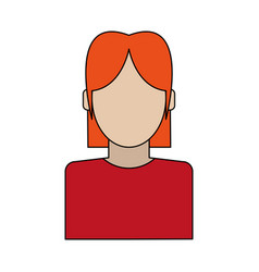 Colorful silhouette faceless half body woman with vector