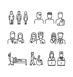 Doctor patient nurse thin line icons set vector image vector image