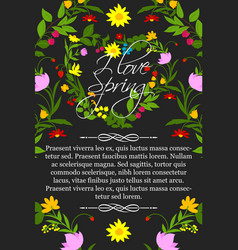 floral poster for spring greeting design vector image vector image