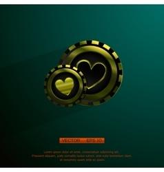 Golden casino chip vector image