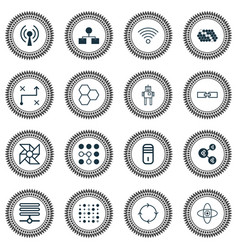 machine icons set collection of algorithm vector image vector image