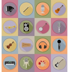 music items and equipment flat icons 19 vector image vector image