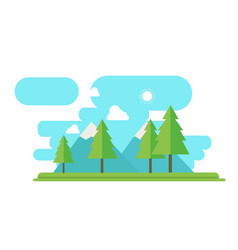 nature landscape with forest and mountain in flat vector image vector image