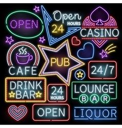 Neon bar illumination signs vector image