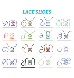 shoe lacing methods icons set vector image vector image