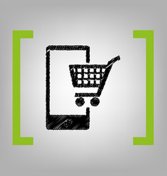 shopping on smart phone sign black vector image vector image