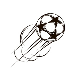 Soccer ball with stars flying through the air vector image
