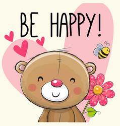 be happy greeting card teddy bear vector image