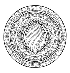 Circle tribal doodle mandala with easter egg vector image