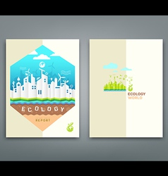 Cover annual report origami building ecology vector image