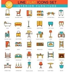 furniture flat line icon set Modern vector image