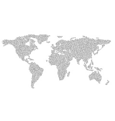 map of planet earth consisting of binary code vector image vector image