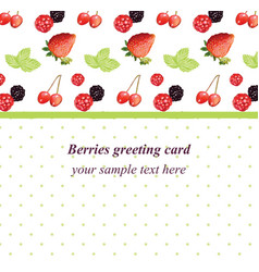 mixed cherry and berry retro style card vector image