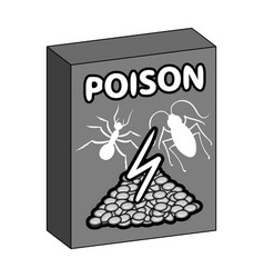 Packaging with poison single icon in monochrome vector