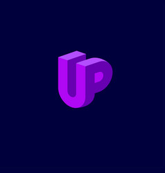 u and p letters pink linear emblem vector image