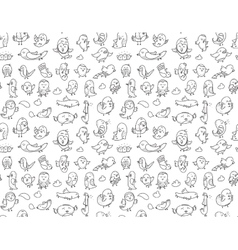Hand drawn birds pattern Black and white vector image