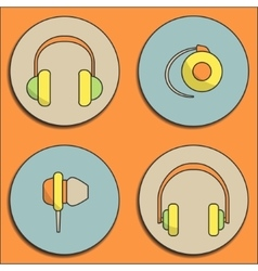 Headphone icons vector image vector image