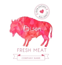 Image meat symbol bison silhouettes of animal for vector