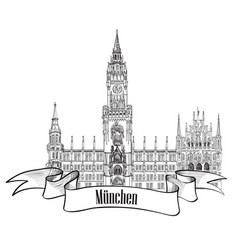 Munich famous city palace with tower rathause vector
