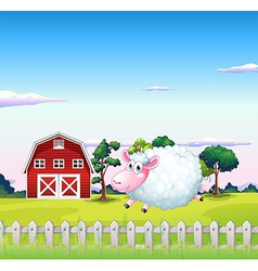 A sheep inside the fence with a barn at the back vector image