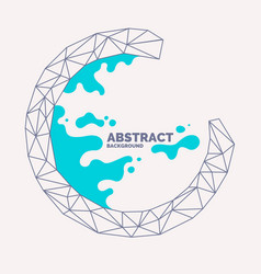 abstract polygonal object and splashes in the vector image