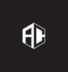 Ac logo monogram hexagon with black background vector
