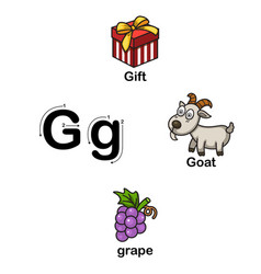 Alphabet letter g-gift goat grape vector