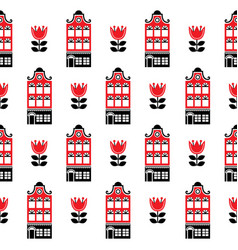amsterdam houses tulips seamless pattern vector image