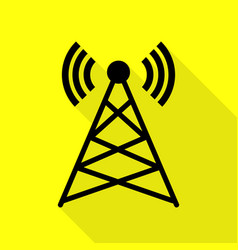 antenna sign black icon with flat vector image