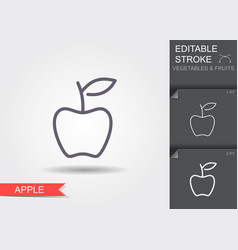 apple line icon with editable stroke with shadow vector image