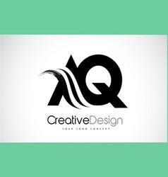 Aq a q creative brush black letters design vector