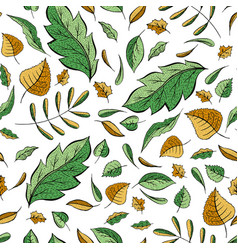 autumn leaves hand drawn pattern vector image